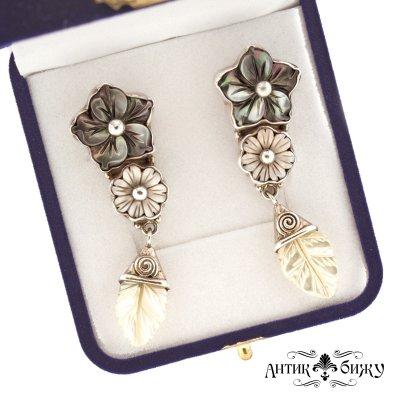 Серебряные винтажные серьги «Цветы» от Sajen