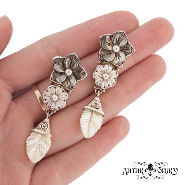 Серебряные винтажные серьги «Цветы» от Sajen оригинальный и эксклюзивный подарок девушке