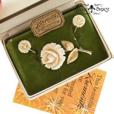 Винтажный комплект «Белые розы» от Krementz