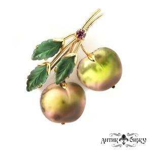 Антикварная брошь «Наливные яблочки» от Austria