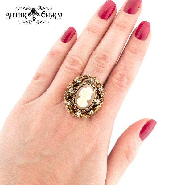 Старинное кольцо «Камея» от Florenza оригинальный и эксклюзивный подарок девушке