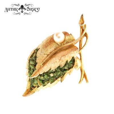Винтажная брошь «Золотой листочек» от Capri