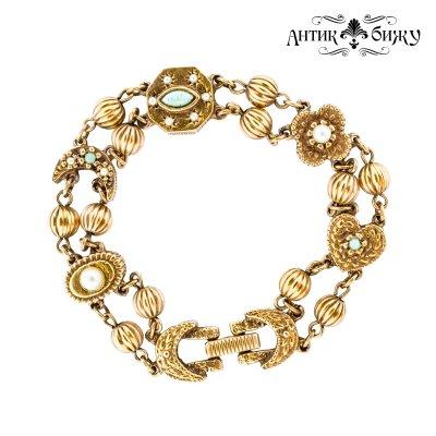 Винтажный браслет «Бирюза и жемчуг» от Goldette