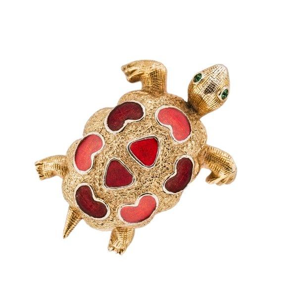 Винтажная брошь «Черепашка» от Florenza для любителей старины и антиквариата