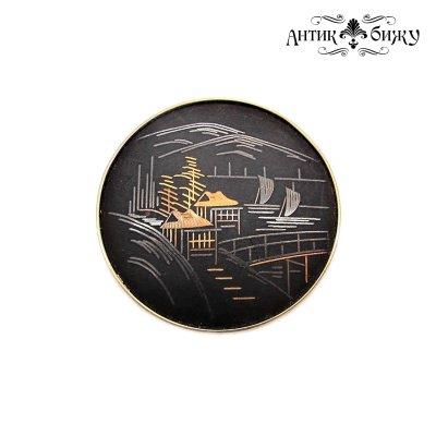 Винтажная японская брошь «Пейзаж» от Amita Japan