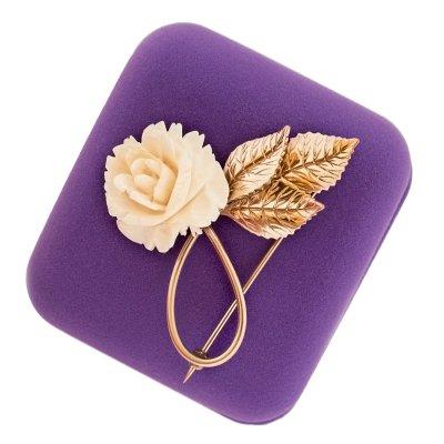 Винтажная брошь «Белая роза» от марки класса люкс Winard