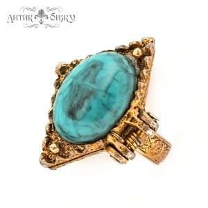 Антикварное кольцо - локет «Бирюза»