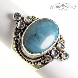 Винтажное серебряное кольцо «Хризоколла» от Sajen