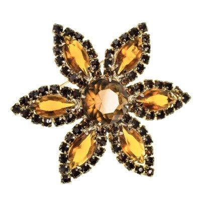 Винтажная брошь «Янтарный цветок» от Weiss