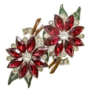 Антикварная брошь - меховые клипсы «Алые цветы» Coro Duette
