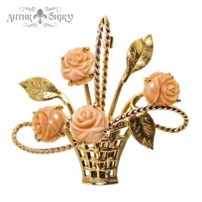 Винтажная брошь «Букет коралловых роз» от Krementz