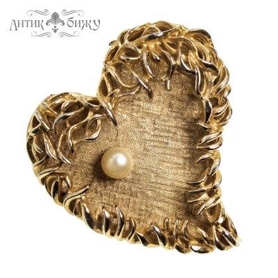 Винтажная крупная брошь «Сердце» от Capri