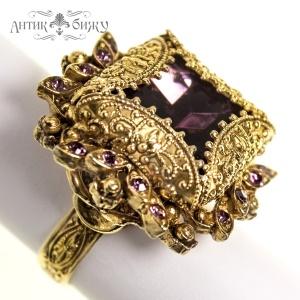 Винтажное коктейльное кольцо «Пурпур» от Florenza