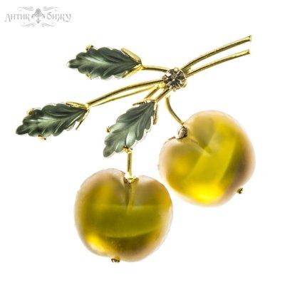 Австрийская антикварная брошь «Желтые яблочки»