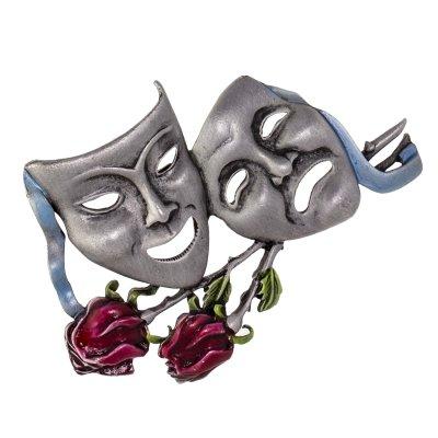 Винтажная брошь «Театральные маски» от JJ