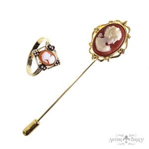 Винтажное кольцо и булавка с камеей