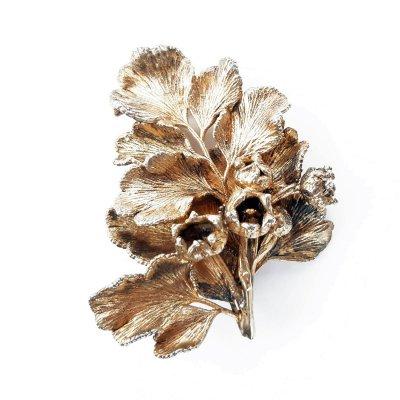 Винтажная серебряная брошь «Ландыш и листочек» от Flora Danica