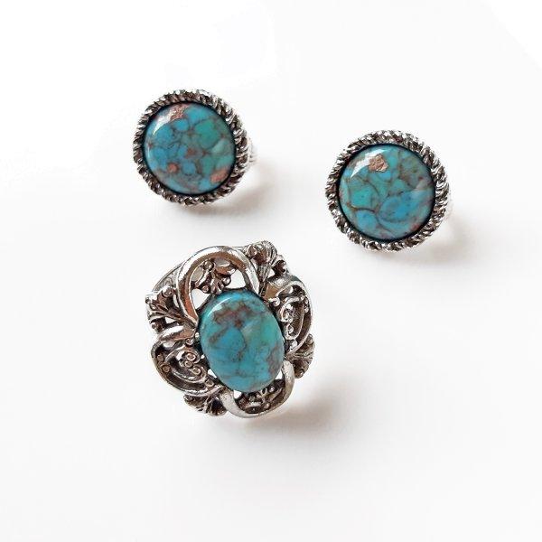 Винтажные клипсы и кольцо «Бирюза» от Sarah Coventry редкие антикварные украшения