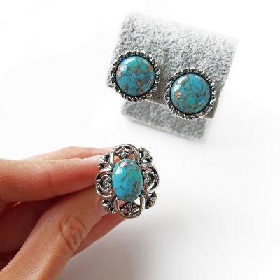 Винтажные клипсы и кольцо «Бирюза» от Sarah Coventry
