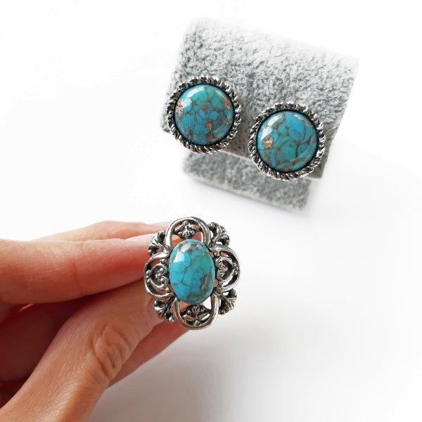 Винтажные клипсы и кольцо «Бирюза» от Sarah Coventry для любителей старины и антиквариата