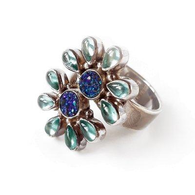 Серебряное кольцо «Агат и топаз» от Sajen