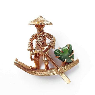 Винтажная брошь «Китаец на лодке» от марки BSK