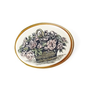 Винтажная брошь «Корзина с розами» от Barlow
