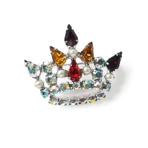 Винтажная брошь «Корона» с кристаллами от B. David