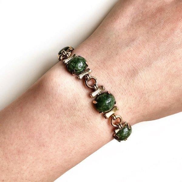 Винтажный браслет «Жадеит» от Krementz оригинальный и эксклюзивный подарок девушке