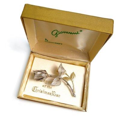 Винтажная брошь «Серебряная роза » от Giovanni