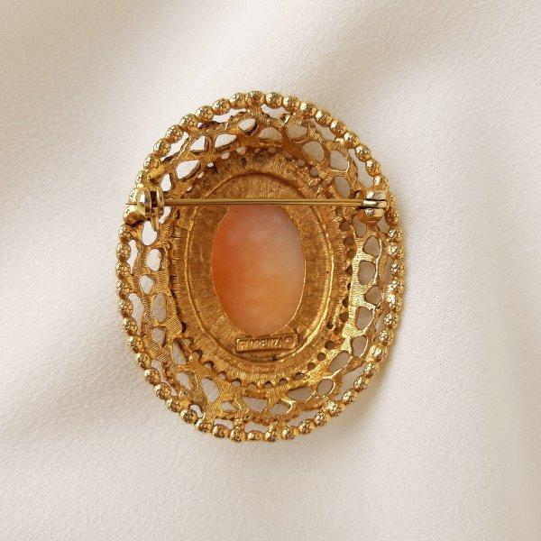 Винтажная брошь с камеей «Элизабет» от Florenza редкие антикварные украшения