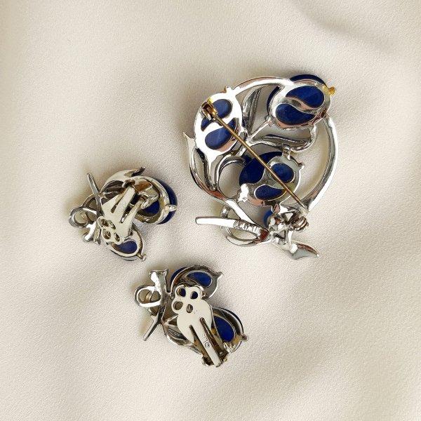 Винтажная брошь и клипсы «Синяя магония» от Lisner редкие антикварные украшения
