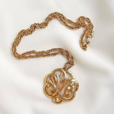 Винтажный кулон на цепи «Цветок» от Monet