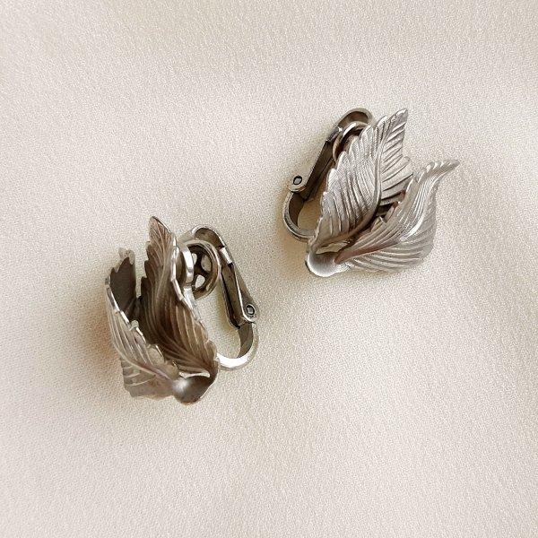 Винтажные клипсы «Серебряные листья» от Lisner оригинальный и эксклюзивный подарок девушке