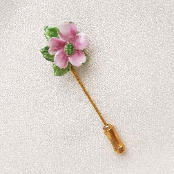 Винтажная фарфоровая булавка «Розовый цветок» от Dorothy Ann оригинальный и эксклюзивный подарок девушке