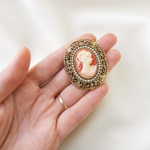 Винтажная брошь с камеей от 1928 Jewelry это настоящая бижутерия класса люкс