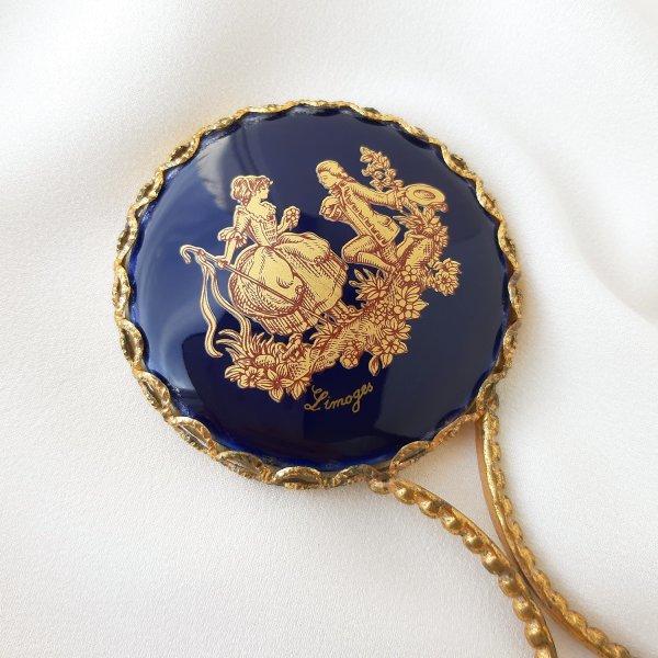 Винтажное ручное зеркало Limoges из Франции Купить антиквариат