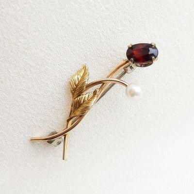 Винтажная ювелирная брошь «Рубин» от Krementz