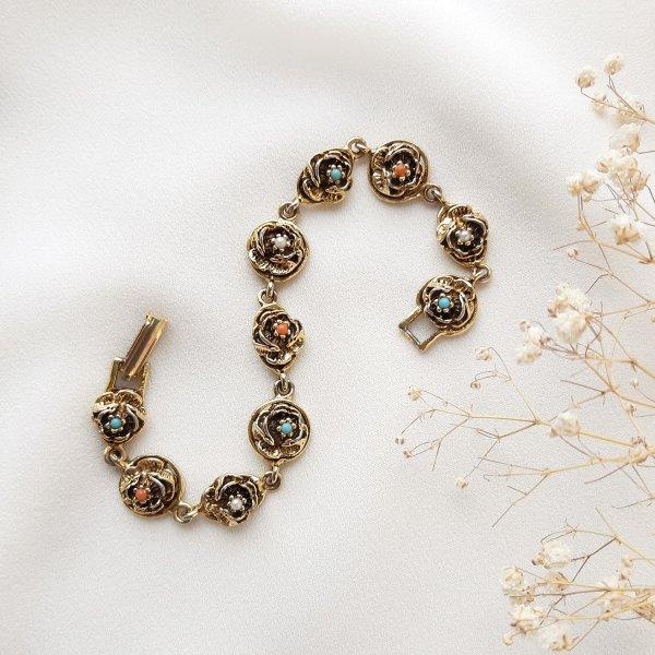 Винтажый браслет «Розочки» от Goldette оригинальный и эксклюзивный подарок девушке