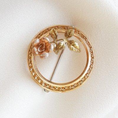 Винтажная брошь «Золотая Розочка» от Krementz