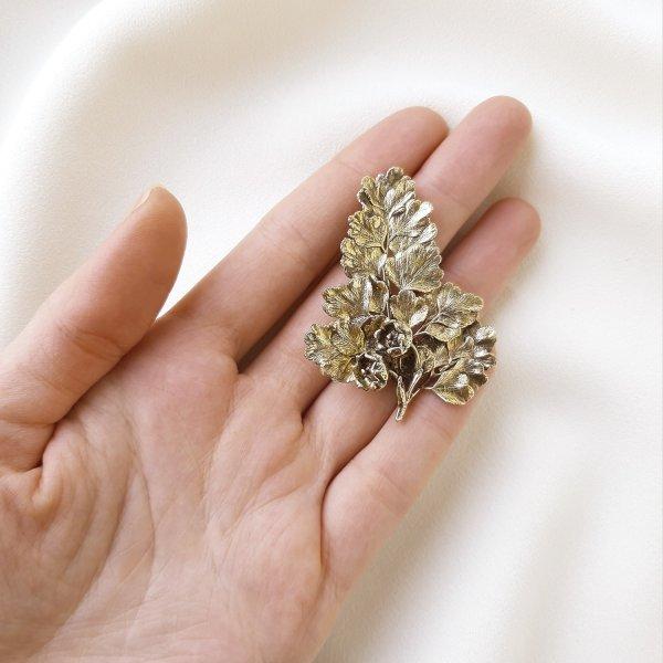 Винтажная серебряная брошь «Цветущий крыжовник» от Flora Danica оригинальный и эксклюзивный подарок девушке