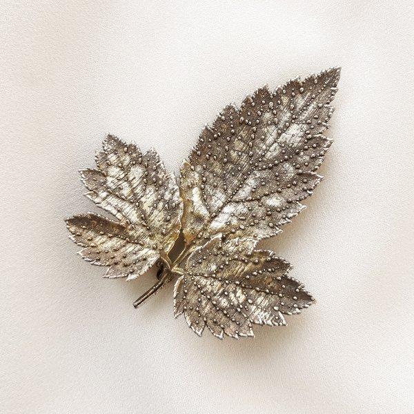 Винтажная серебряная брошь «Листочек» от Flora Danica это настоящая бижутерия класса люкс