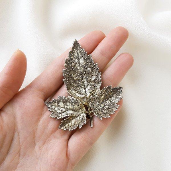 Винтажная серебряная брошь «Листочек» от Flora Danica оригинальный и эксклюзивный подарок девушке