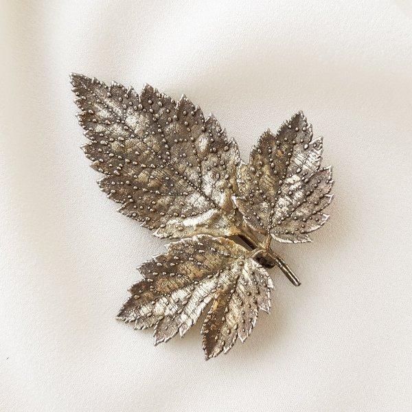 Винтажная серебряная брошь «Листочек» от Flora Danica редкие антикварные украшения