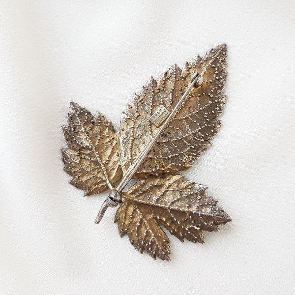 Винтажная серебряная брошь «Листочек» от Flora Danica это настоящий редкий винтаж