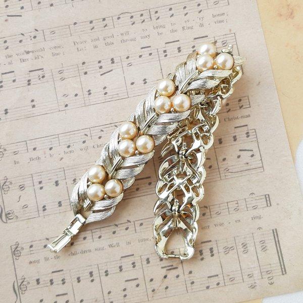 Винтажный браслет «Кремовый жемчуг» от Lisner оригинальный и эксклюзивный подарок девушке