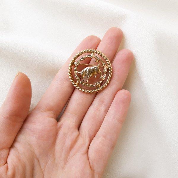 Винтажная брошь «Телец» оригинальный и эксклюзивный подарок девушке