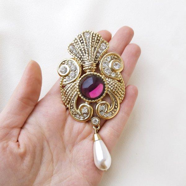 Дизайнерская брошь «Королевская роскошь» от Jeff Lieb Купить винтаж