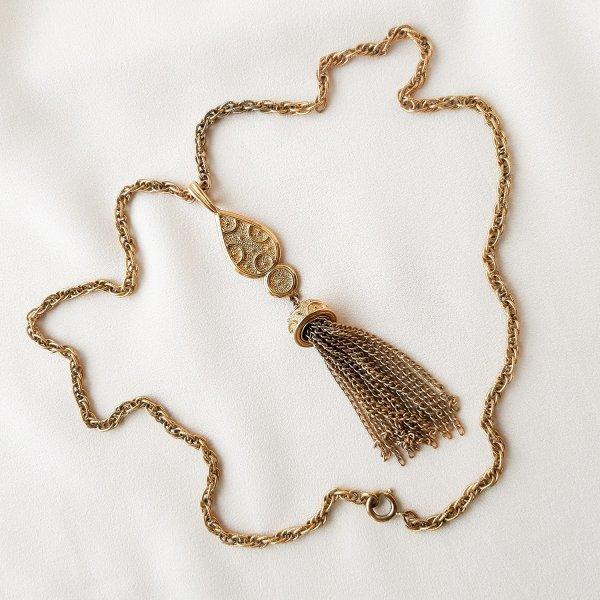 Винтажный кулон на цепи с кисточкой от Trifari редкие антикварные украшения