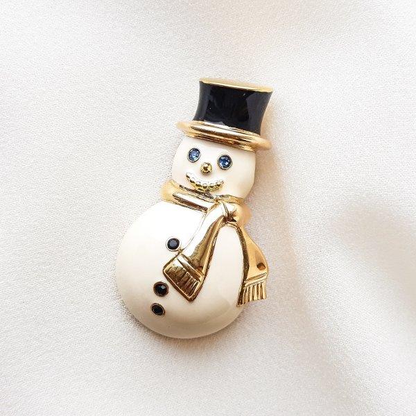 Винтажная брошь «Снеговик» от Monet редкие антикварные украшения
